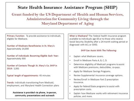 State Health Insurance Assistance Program (SHIP) Grant funded by the US Department of Health and Human Services, Administration for Community Living through.