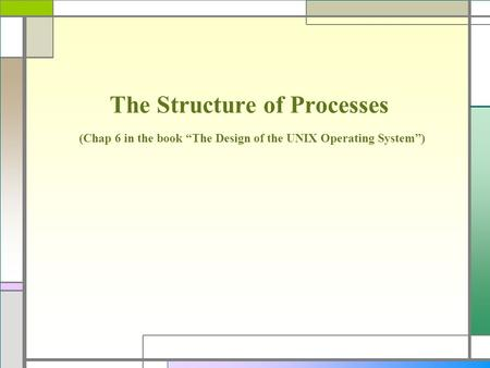 "The Structure of Processes (Chap 6 in the book ""The Design of the UNIX Operating System"")"