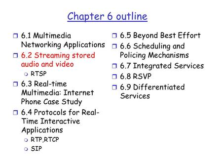 Chapter 6 outline r 6.1 Multimedia Networking Applications r 6.2 Streaming stored audio and video m RTSP r 6.3 Real-time Multimedia: Internet Phone Case.
