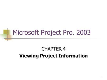 1 Microsoft Project Pro. 2003 CHAPTER 4 Viewing Project Information.