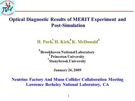 1 Optical Diagnostic Results of MERIT Experiment and Post-Simulation H. Park, H. Kirk, K. McDonald Brookhaven National Laboratory Princeton University.