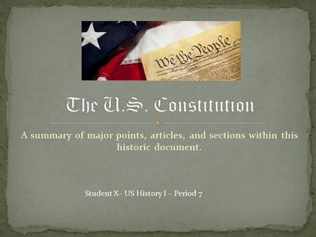 A summary of major points, articles, and sections within this historic document. Student X– US History I – Period 7.