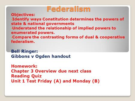 defining federalism Federalism is a type of government in which the power is divided between the national government and other nowhere does it define what federalism is.
