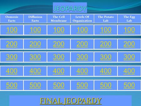 The Egg Lab The Potato Lab Levels Of Organization The Cell Membrane Diffusion Facts Osmosis Facts 100 200 300 400 500 FINAL JEOPARDY FINAL JEOPARDY.