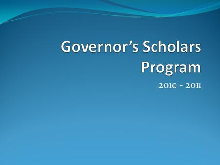 2010 - 2011. What is GSP? The Governor's Scholar Program is a five-week uninterrupted residential summer program that takes place on a KY College campus.