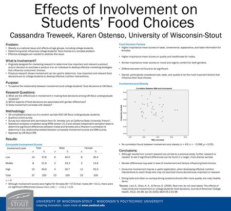 Effects of Involvement on Students' Food Choices Cassandra Treweek, Karen Ostenso, University of Wisconsin-Stout Problem: Obesity is a national issue and.