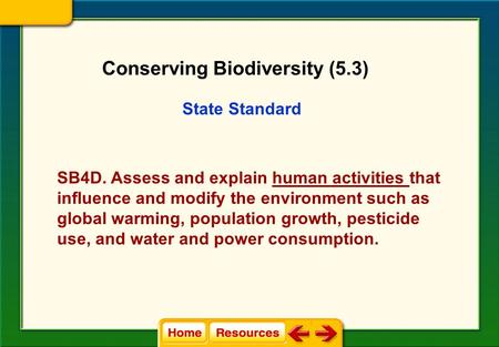 State Standard SB4D. Assess and explain human activities that influence and modify the environment such as global warming, population growth, pesticide.
