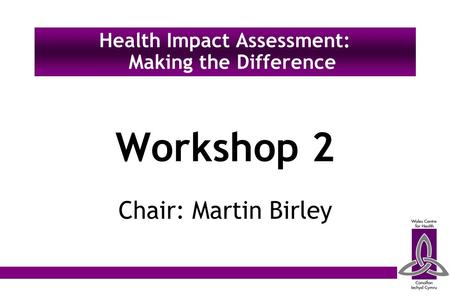 Workshop 2 Chair: Martin Birley Health Impact Assessment: Making the Difference.