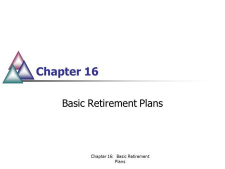 Chapter 16: Basic Retirement Plans Chapter 16 Basic Retirement Plans.