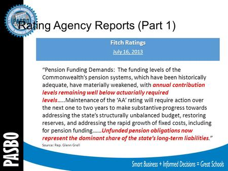 "Rating Agency Reports (Part 1) Fitch Ratings July 16, 2013 ""Pension Funding Demands: The funding levels of the Commonwealth's pension systems, which have."