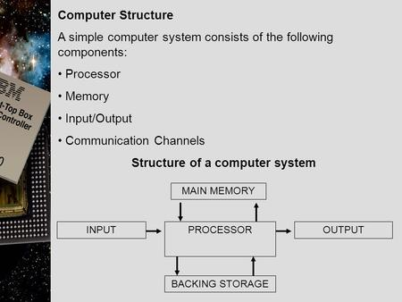 Computer Structure A simple computer system consists of the following components: Processor Memory Input/Output Communication Channels Structure of a computer.