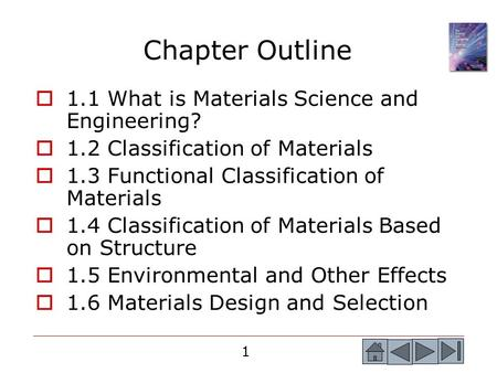 1 Chapter Outline  1.1 What is Materials Science and Engineering?  1.2 Classification of Materials  1.3 Functional Classification of Materials  1.4.
