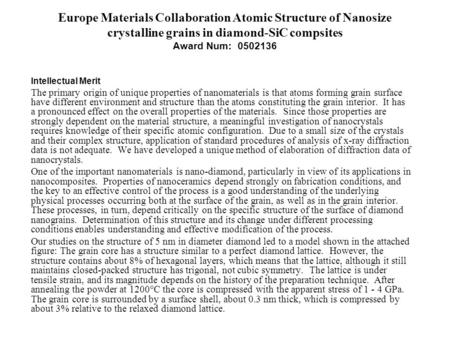 Europe Materials Collaboration Atomic Structure of Nanosize crystalline grains in diamond-SiC compsites Award Num: 0502136 Intellectual Merit The primary.