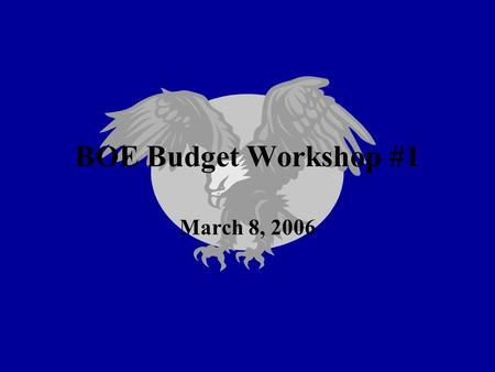 BOE Budget Workshop #1 March 8, 2006. Presentation Overview Revenue Summary (State Aid) Areas of Greatest Budget Increases Budget Presentations for 06/07.