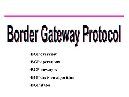 BGP overview BGP operations BGP messages BGP decision algorithm BGP states.