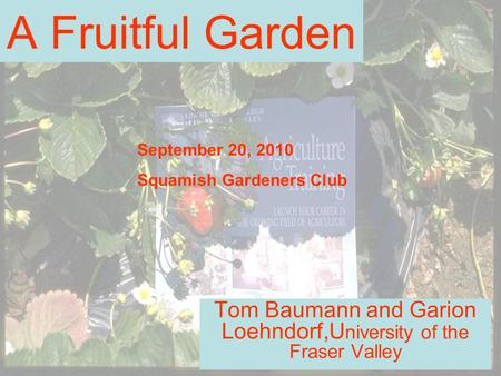 A Fruitful Garden Tom Baumann and Garion Loehndorf,U niversity of the Fraser Valley September 20, 2010 Squamish Gardeners Club.