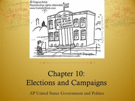 Chapter 10: Elections and Campaigns AP United States Government and Politics.