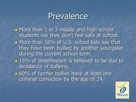 Prevalence More than 1 in 3 middle and high school students say they don't feel safe at school. More than 1 in 3 middle and high school students say they.