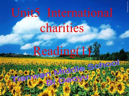 Unit 5 Reading (I) Unit 5 Reading (I) Unit5 International charities Reading(1)