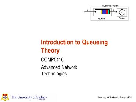 Courtesy of R.Martin, Rutgers Univ Introduction to Queueing Theory COMP5416 Advanced Network Technologies.