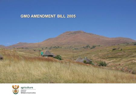 GMO AMENDMENT BILL 2005. 2 DEPARTMENT OF AGRICULTURE REPRESENTATIVES DR. SHADRACK R. MOEPHULI:ADGAP (EC: CHAIR) DR. JULIAN B. JAFTHA: SMGRM MS. MICHELLE.