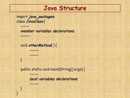 Java Structure import java_packages; class JavaClass { ------ member variables declarations; ------ void otherMethod( ) { ------ } public static void main(String[]