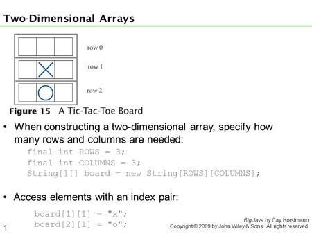When constructing a two-dimensional array, specify how many rows and columns are needed: final int ROWS = 3; final int COLUMNS = 3; String[][] board =