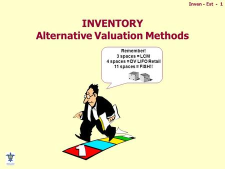 Inven - Est - 1 INVENTORY Alternative Valuation Methods Remember! 3 spaces = LCM 4 spaces = DV LIFO Retail 11 spaces = FISH!!