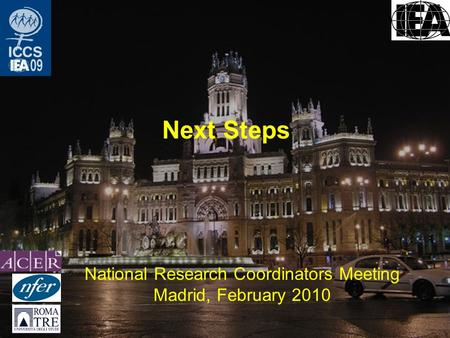 Next Steps National Research Coordinators Meeting Madrid, February 2010.