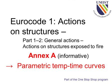 Eurocode 1: Actions on structures – Part 1–2: General actions – Actions on structures exposed to fire Part of the One Stop Shop program Annex A (informative)