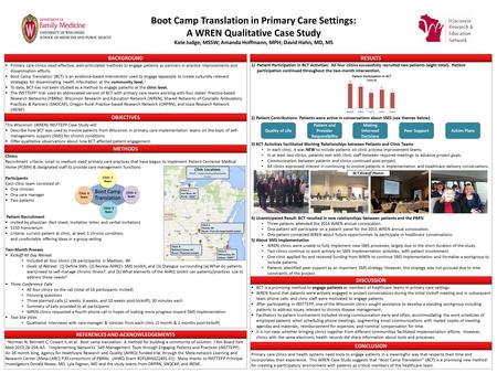 Boot Camp Translation in Primary Care Settings: A WREN Qualitative Case Study Kate Judge, MSSW; Amanda Hoffmann, MPH; David Hahn, MD, MS  Primary care.