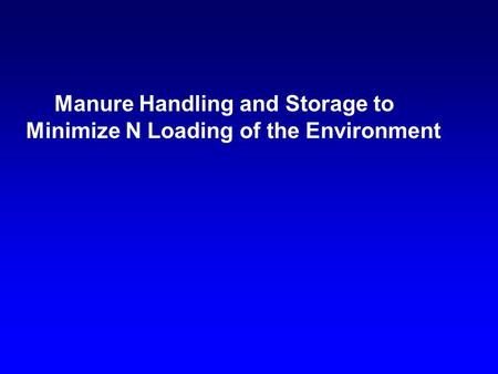 Manure Handling and Storage to Minimize N Loading of the Environment.