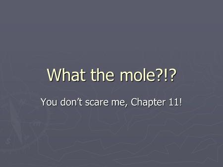 What the mole?!? You don't scare me, Chapter 11!.