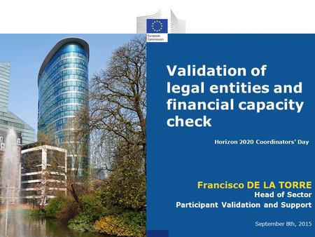 Validation of legal entities and financial capacity check