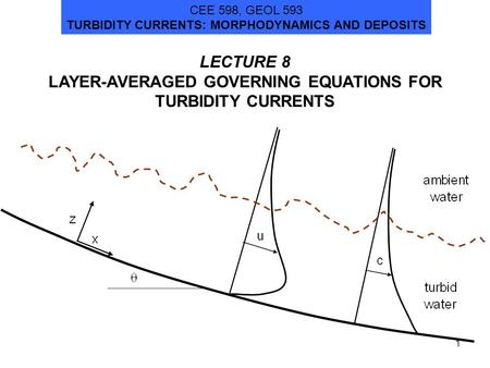 LECTURE 8 LAYER-AVERAGED GOVERNING EQUATIONS FOR TURBIDITY CURRENTS