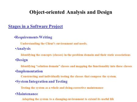Object-oriented Analysis and Design Stages in a Software Project Requirements Writing Analysis Design Implementation System Integration and Testing Maintenance.
