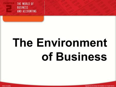 Copyright © by The McGraw-Hill Companies, Inc. All rights reserved.Glencoe Accounting The Environment of Business.