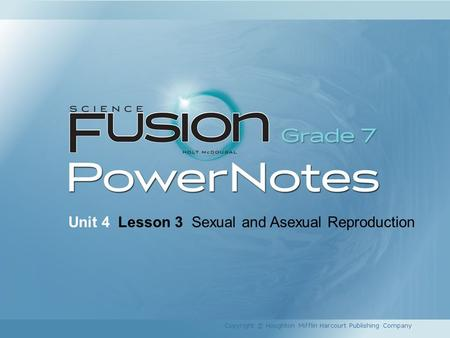 Unit 4 Lesson 3 Sexual and Asexual Reproduction Copyright © Houghton Mifflin Harcourt Publishing Company.