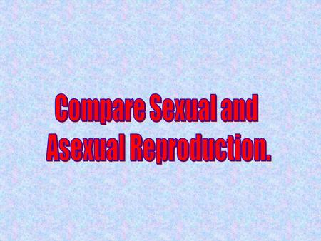 Comparison Asexual and Sexual Reproduction Number of Parents What do Offspring Look Like? DNA AsexualSexual.