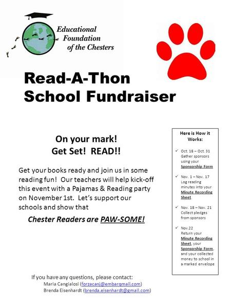 On your mark! Get Set! READ!! Get your books ready and join us in some reading fun! Our teachers will help kick-off this event with a Pajamas & Reading.