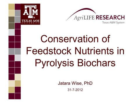 Conservation of Feedstock Nutrients in Pyrolysis Biochars Jatara Wise, PhD 31-7-2012.