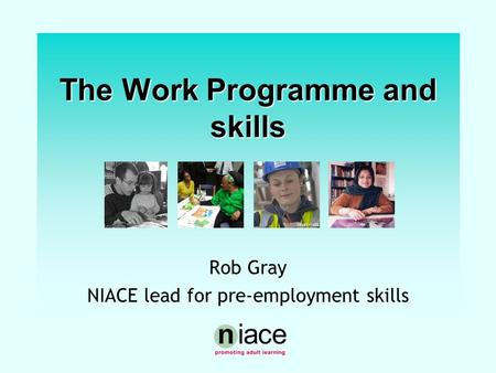 Stuart Hollis The Work Programme and skills Rob Gray NIACE lead for pre-employment skills.
