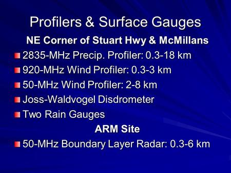 Profilers & Surface Gauges NE Corner of Stuart Hwy & McMillans 2835-MHz Precip. Profiler: 0.3-18 km 920-MHz Wind Profiler: 0.3-3 km 50-MHz Wind Profiler: