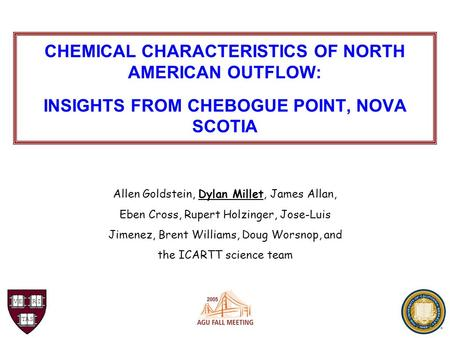 CHEMICAL CHARACTERISTICS OF NORTH AMERICAN OUTFLOW: INSIGHTS FROM CHEBOGUE POINT, NOVA SCOTIA Allen Goldstein, Dylan Millet, James Allan, Eben Cross, Rupert.