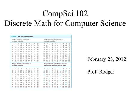 CompSci 102 Discrete Math for Computer Science February 23, 2012 Prof. Rodger.