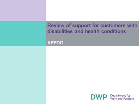 1 Review of support for customers with disabilities and health conditions APPDG.