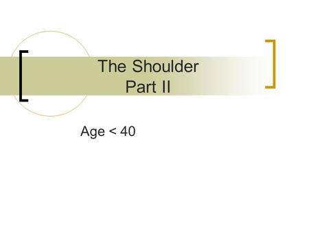 The Shoulder Part II Age < 40. Instability Traumatic  'it ain't out unless it's out'  Xray proof needed Atraumatic.