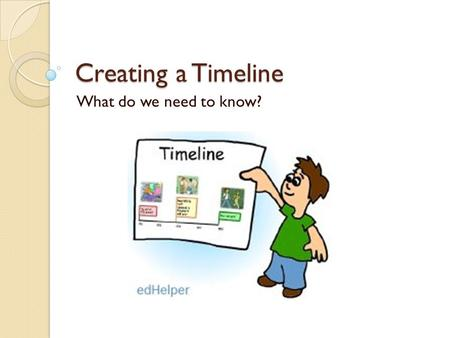 "Creating a Timeline What do we need to know?. Timeline Lingo BC – before Christ BCE – before the common era AD – Latin meaning ""Anno Domini"" Translated."