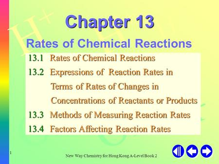 H+H+ H+H+ H+H+ OH - New Way Chemistry for Hong Kong A-Level Book 2 1 Chapter 13 Rates of Chemical Reactions 13.1Rates of Chemical Reactions 13.2Expressions.