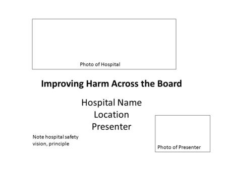 Improving Harm Across the Board Hospital Name Location Presenter Photo of Hospital Photo of Presenter Note hospital safety vision, principle.